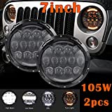 Partsam 2x7''Inch 105W LED Hi/Lo Beam Headlight Round Assembly with White DRL and Yellow Turn Signal for Jeep Wrangler JK TJ LJ LJ Harley Davidson Hummer(2PCS)