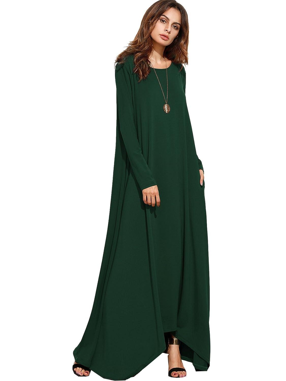 MakeMeChic Women's Long Sleeve Casual Loose Pocket Maxi Long Party Dress