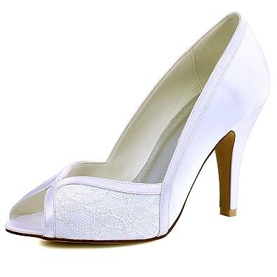 Amazon.com | ElegantPark Women High Heel Pumps Peep Toe Lace Bridal ...