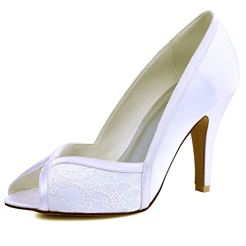 Elegantpark HP1617 Donna Peep Toe Tacco A Spillo Pompe Satin Pizzo Scarpe  da Sposa Bianco 35 d0e2ddbd7dfb