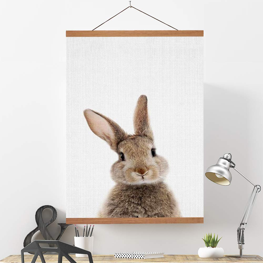 Ywlake Magnetic Poster Hanger, 35x23 35x14 35 x 47 Poster Frame Wood Wooden Magnet Print Posters Dowel Scroll Hanger Hangers Hanging Kit for Walls Map Canvas Artwork (Teak Wood, 35'') by Ywlake