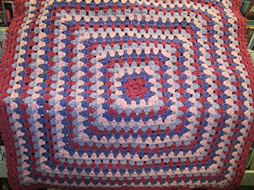 Hand Crocheted Afghan (Hand Crocheted Pink and Purple Granny Square Afghan)