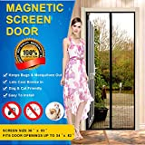 """Magnetic Screen Door Mesh Curtain - Fits Doors Up To 34"""" x 82"""" (36"""" x 82"""" curtain)- KEEP BUGS OUT Lets Fresh Air In - Toddler And Pet Friendly"""