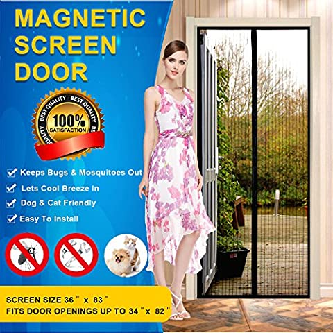 Magnetic Screen Door Mesh Curtain - Fits Doors Up To 34