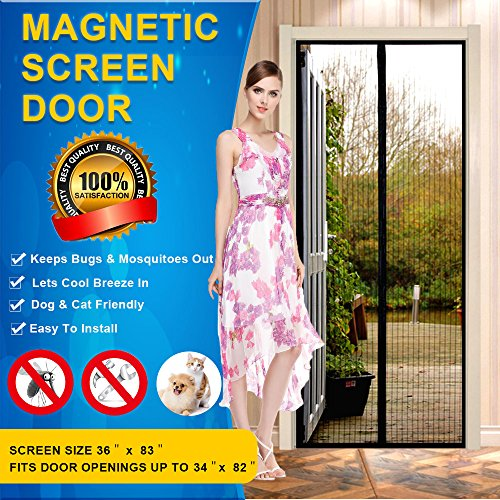 Magnetic Screen Door Mesh Curtain - Fits Doors Up To 34 x 82 MAX- KEEP BUGS OUT Lets Fresh Air In - Toddler And Pet Friendly