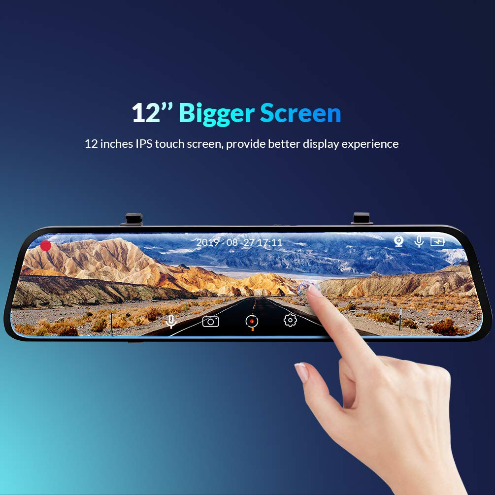 Backup Camera Car Mirror Dash Cam,12 IPS Full Touch Screen,2560P+1080P Resolution Front and Rear View Dual Lens,32G TF Card Included