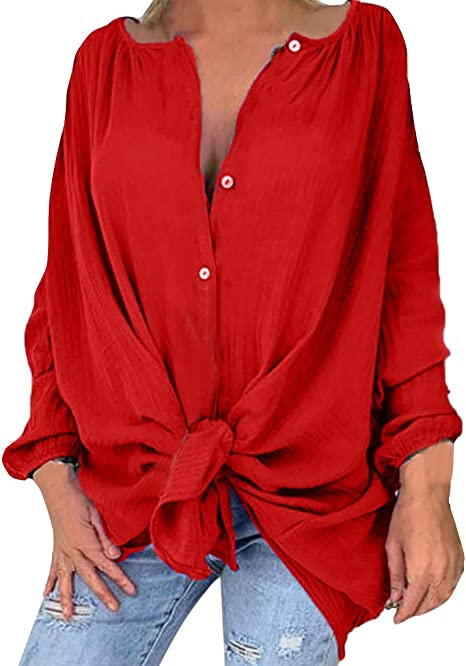 Camisa Mujer Cuello en V Blusa botón Mujer Elegante Manga ...