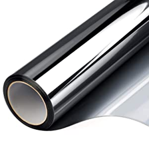 Window Tint for Home,Privacy Window Mirror Film Vinyl Roll One Way Heat Control Anti UV Static Cling Stained Glass Peel and Stick Door Coverings No Glue Stickers 17.7 Inch x 7.8 Feet Black Silver