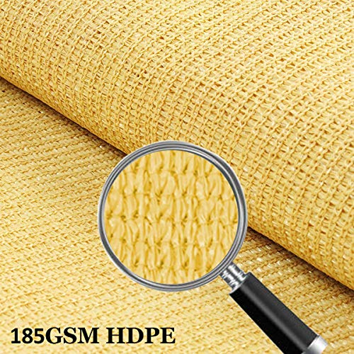 10 x 13 Sun Shade Sails Canopy Rectangle Sand, 185GSM Shade Sail UV Block for Patio Garden Outdoor Facility and Activities