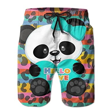 57cf0cf1ac264 Ralph Lauren Polo Men's Lightweight Quick Dry Beach Shorts Valentine's Day  Panda Bear Swim Trunks Beach