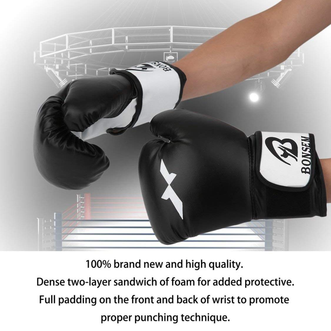 Vige Komfortable Design PU-Leder-Trainingshandschuhe Neue Art Boxhandschuhe 2 Farben Optional Boxing Zubeh/ör