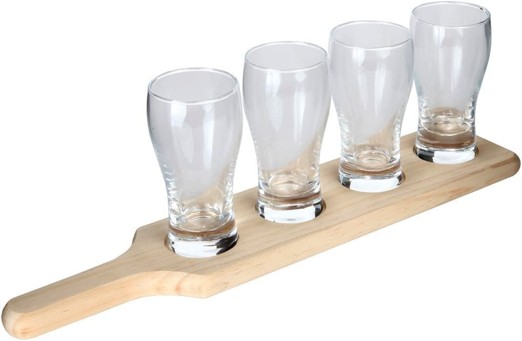 Lilys Home Beer Flight Paddle and Sample Tasting Set Best for Beer Lovers Set of 4 Includes 4 Pilsner Glasses with 1 Attractive Wooden Tray Home Brewers Professional Bars and Breweries