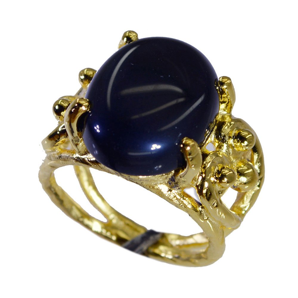 Jewelryonclick Natural Black Onyx Gold Plated Wedding Rings Her Gift Jewelry Size 5,6,7,8,9,10,11,12