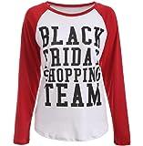 Hemlock Long-sleeved T Shirt, Women's Black Friday Print Tee Shirt Slim Blouse (XXL, White)