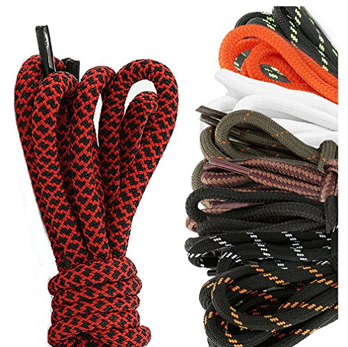 DailyShoes Round Hiking Boot Shoelaces Strong Durable Stylish Shoe Laces Diaphanous Hazel , (Great for Running Shoes) Black Lime 36