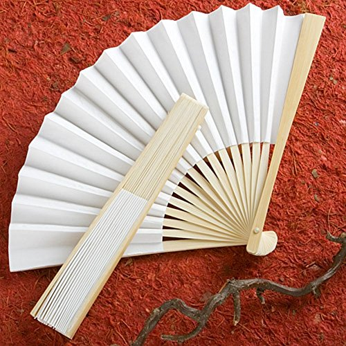 Fashioncraft,Wedding Party Bridal Shower Favors, White Paper Fans, Set of 50