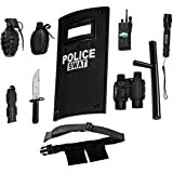 Ultimate All-In-One Police Officer Role Play Set For Kids - Includes SWAT Shield, Adjustable Belt, Flashlight & More, Durable Plastic Construction, Police Force Halloween Uniform Accessories For Kids