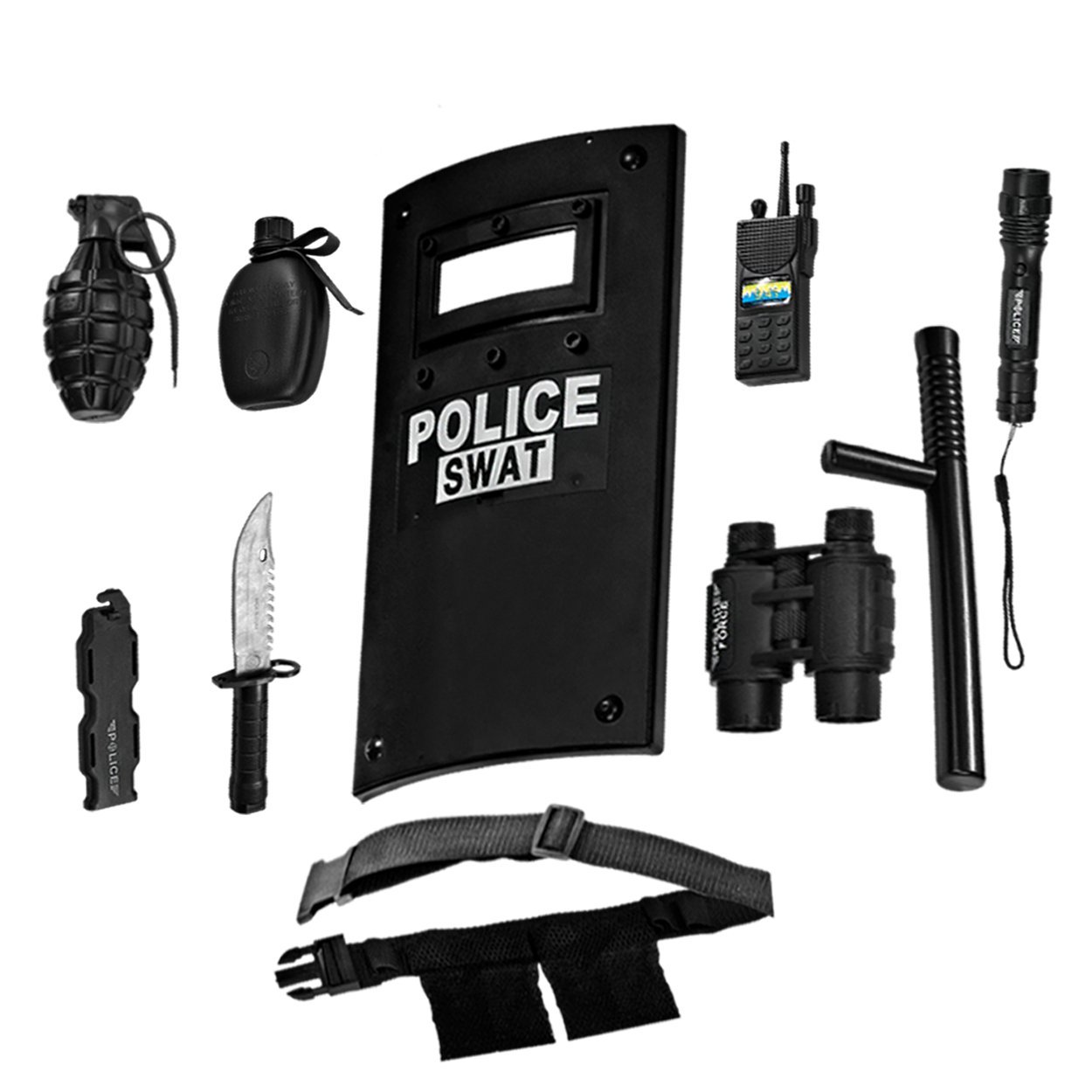 Ultimate All-in-One Police Officer Role Play Set for Kids - Includes SWAT Shield, Adjustable Belt, Flashlight & More, Durable Plastic Construction, Police Force Halloween Uniform Accessories for Kids by Dress Up America