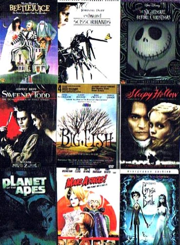 Tim Burton's Best (9-Pack): The Nightmare Before Christmas (2-DVD + Digital Copy, 1993) / Sweeney Todd - The Demon Barber of Fleet Street (2007) / Big Fish (2004) / Beetlejuice (1988) / Sleepy Hollow (1999) / Edward Scissorhands (1990) / Mars Attacks! (1996) / Planet of the Apes (2-DVD, 2001) / Tim Burton's Corpse Bride (2005) (Total 15 hrs 25 min) (Sleepy Hollow Kids Movie)