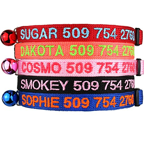 Personalized Breakaway Cat Collars with Safety Release Buckle - Custom Embroidered with Pet Name and Phone Number - Safe Adjustable Nylon ID Collar with Bell for Cat or ()