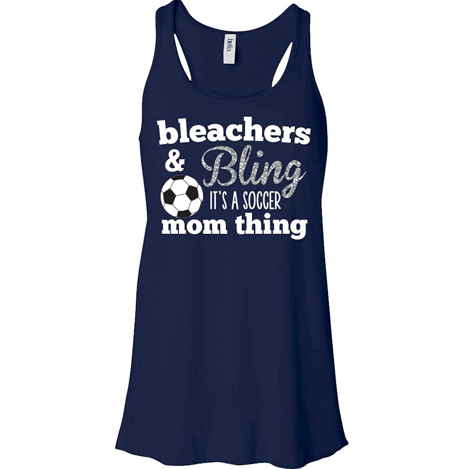 Bleachers & Bling It's A SOCCER Mom Thing Sparkly Tank - Navy