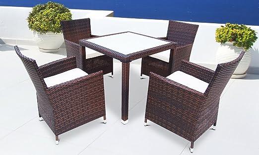 Conjunto Mesa y Sillas para Jardín | de Ratán, con Tapa de Cristal Blanco y Patas de Aluminio, Marrón | 4+1 Conjunto Exterior, SIllas y Mesa, Muebles de Jardín: Amazon.es: Jardín