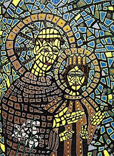 St. Anthony Of Padua Original Mixed Media Framed Mosaic Painting Catholic Art Michelle Astuto Collins