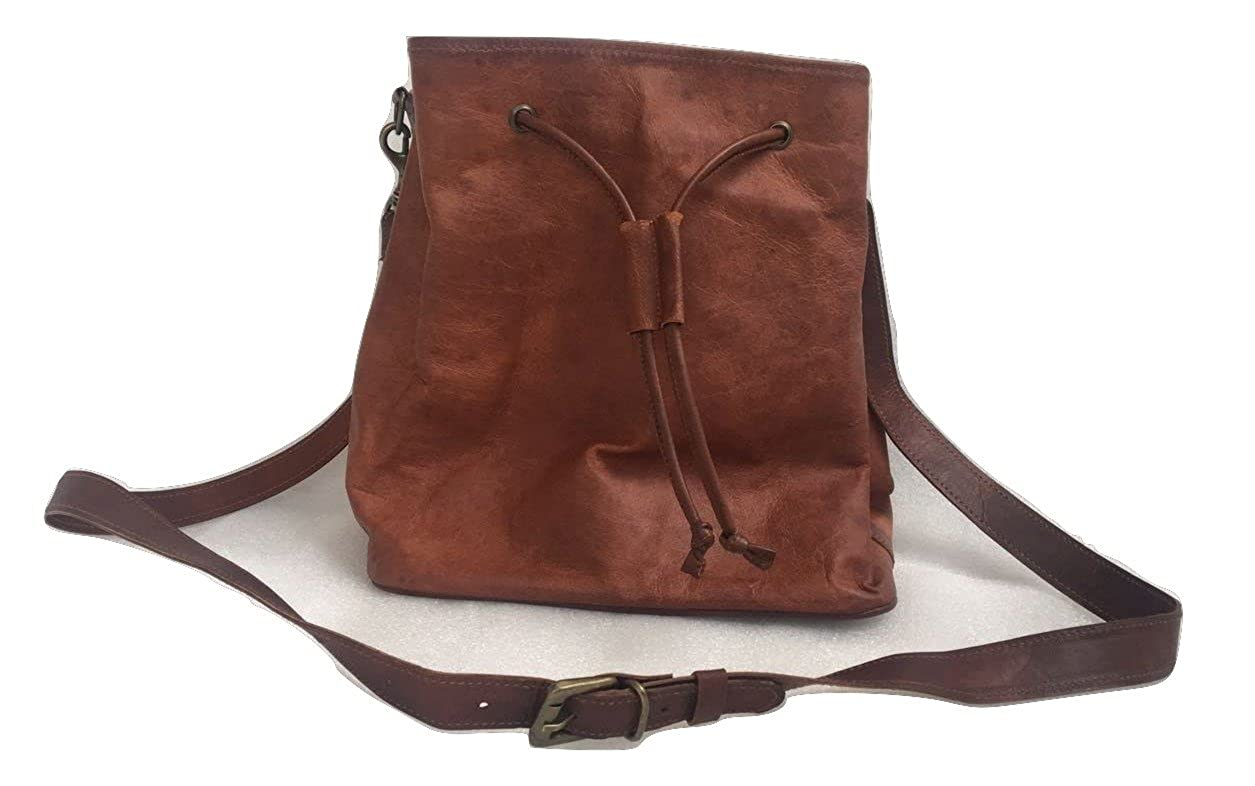 a13bc3190717 Genuine Brown Leather Bucket Bag Vintage Drawstring Bucket Tote Bag for  Women