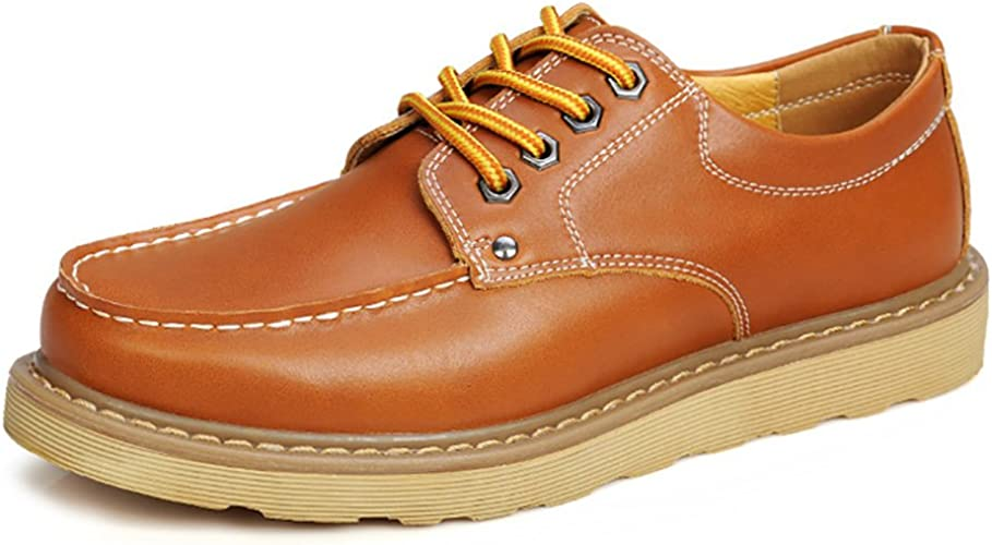 Leather Cargo Work Shoes for Men Brown