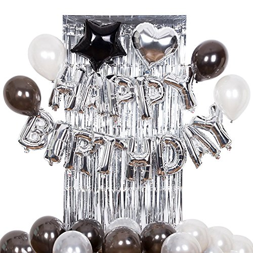 Silver Happy Birthday Alphabet Balloon Banner for Birthday Party Decoration Black and Silver Brilliant Foil Balloons Balloons, Metallic Tinsel Foil Fringe Curtains -