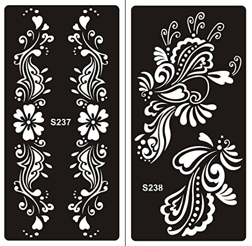 Mehndi Tatouage Pochoir pour le corps Mehndi Tatouages au henné - à usage unique S237 238-2 pièces - pour tatouage au henné, tatouage paillettes et aérographe tatouage Beyond