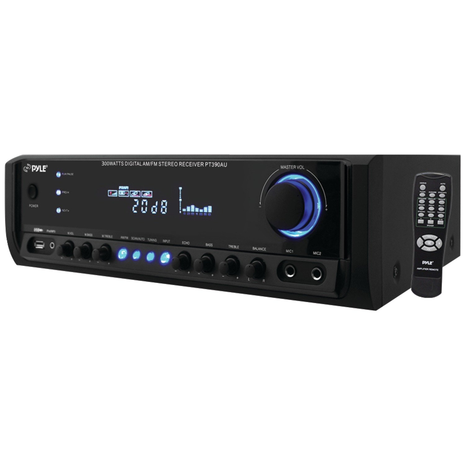 Pyle PT390AU Digital Home Theater Stereo Receiver, Aux (3.5mm) Input, MP3/USB/AM/FM Radio, (2) Mic Inputs, 300 Watt by Pyle