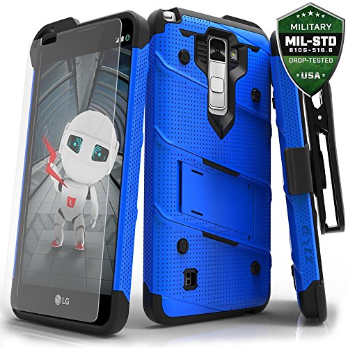 Zizo Bolt Series Compatible with LG Stylo 2 Plus Case Military Grade Drop Tested with Tempered Glass Screen Protector, Holster Blue Black