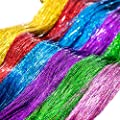 "SWACC 48"" Hair Tinsel 7200 Strands 12 Colors 12 Pack in Set -Sparkling & Shiny Hair Tinsel Extensions Colored Party Highlights Glitter Extensions Multi-Colors Hair Streak Bling Hairpieces"