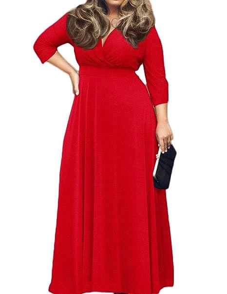 POSESHE Women\'s Solid V-Neck 3/4 Sleeve Plus Size Evening Party Maxi Dress