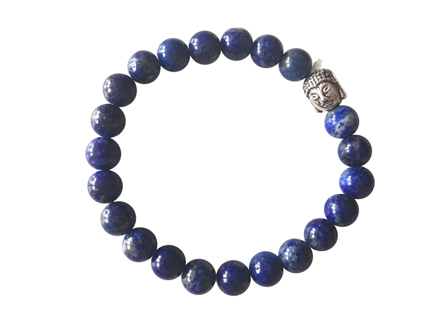 'Magic and Love' Genuine LAPIS LAZULI Gemstone Chakra Bead Buddha Bracelet ~ Natural Stones Ethically Sourced from Western Hills of India ~ Handmade Jewellery in Gift Box …