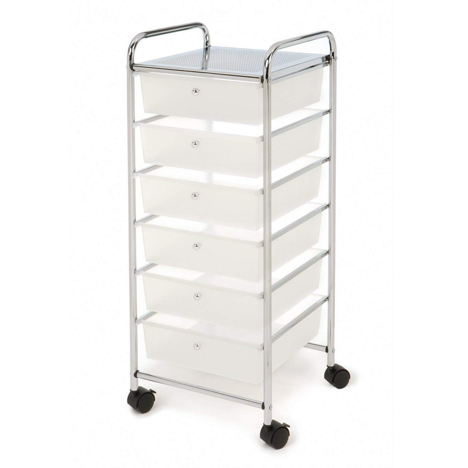 Fine Slim Slide Out Rolling Storage Cart Tower, 6 Tiers Slim Narrow Space Organizer Rack with Wheels for Laundry, Home Organizer Rack,Bathroom, Kitchen & Living Room (White) by Fine