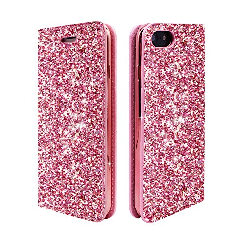 iPhone 6s Case Wallet Glitter, ClarksZone Sequins Wallet Case with [Card Slots] [Stand Feature] Protective PU Leather Cover + Plating TPU Soft Universal Flip Case for iPhone 8/7/6S/6 - Pink