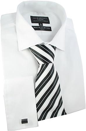 Cuello y puños de Londres - camisa, corbata y gemelos de camisa para hombre - - sensacional tela - Satisfacción