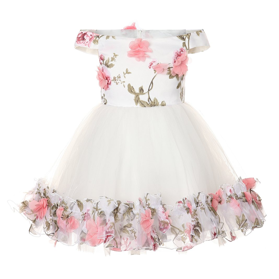 Haytijoe Wedding Birthday Flower Girl Dress Off Shoulder with Bowknot(Size 4,White by Haytijoe