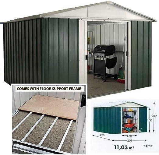 Yardmaster Apex Metal caseta de jardín, 10 x 10 con marco de ...