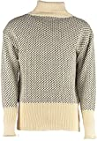 Classic Norwegian patterned roll neck Submariners Sweater # 41018 Ecru/Navy (MEDIUM)