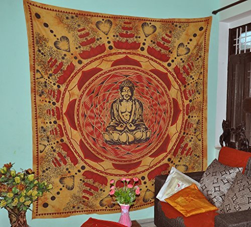 Gokul Handloom Buddha Meditation and Lotus Cotton Brown Wall Hanging Indian Tapestry Beach Hippie Bohemian Tapestries Wall Art Cotton 90x84 Inches ()
