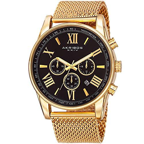 Father's Day Gift - Akribos XXIV Swiss Chronograph Quartz Watch - Round Radiant Sunburst Dial - Stainless Steel Mesh Strap - Omni Mens Dress Watch - AK813 - Gold ()