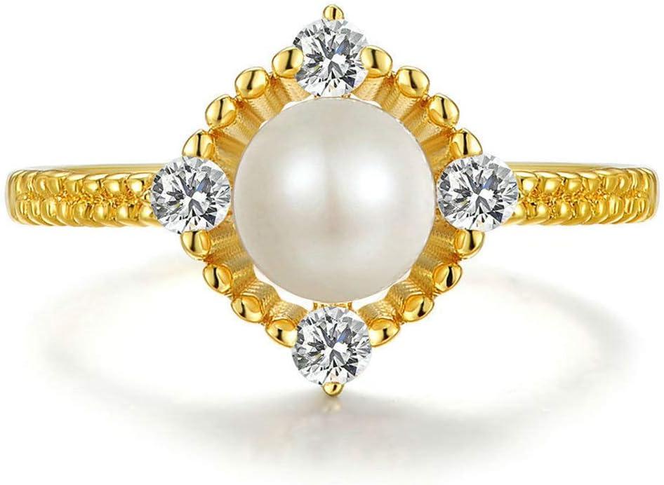 J.Memi's Mujer Anillo Perla Plata De Ley 925 Plateado con Oro 14K Circonia Cúbica Originales Piedras Preciosas En La Luna Joyeria Regalo