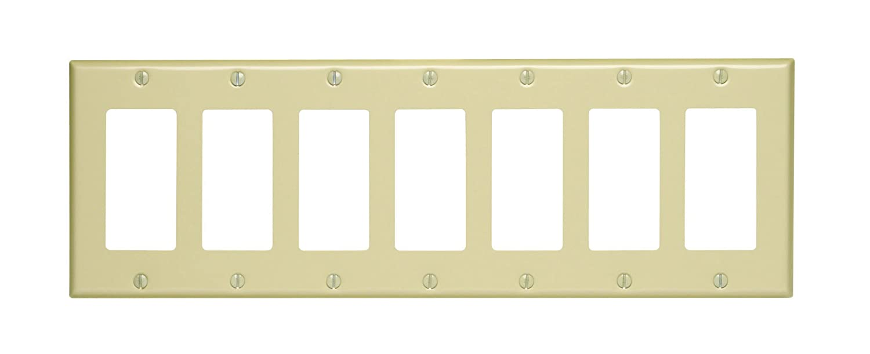 Leviton 80407-W 7-Gang Decora/GFCI Device Decora Wallplate, Painted ...