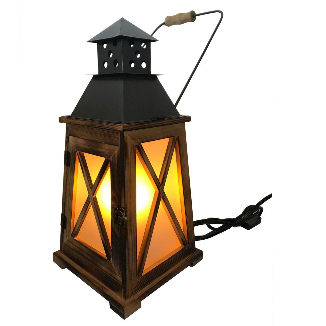 Decoluce Vintage Decorative Hurricane Electric Handmade Lantern Lights, Rustic Retro Decor Wood Antique Table Lamp,with Frost Glass For Flame Bulb,Ambient Flameless Candle Lanterns Lights