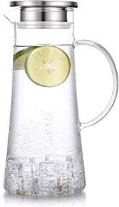 Hwagui - Best Heat Resistant Glass Pitcher with Stainless Steel Lid, Water Carafe with Handle, Good Beverage Pitcher for Homemade Juice and Iced Tea, 1500ml/51oz