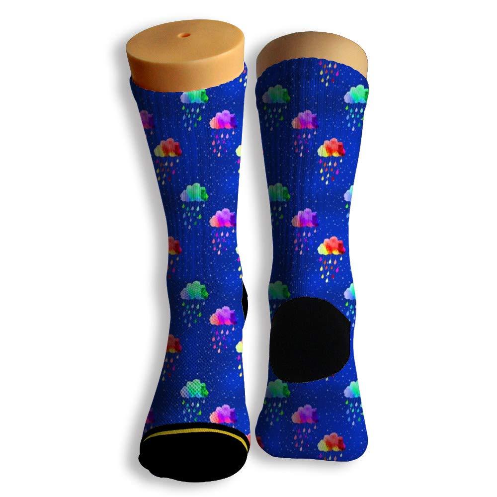 Basketball Soccer Baseball Socks by Potooy Weather of Rain 3D Print Cushion Athletic Crew Socks for Men Women