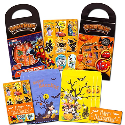 Disney Halloween Party Favors for Kids Toddlers -- Set of 40 Party Favor Bags and 40 Sticker Packs (Disney Pixar Marvel Halloween Party Supplies)